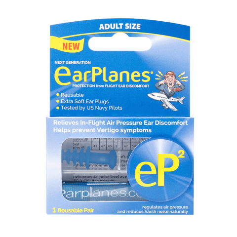 EarPlanes EP2 adult earplugs packaging front
