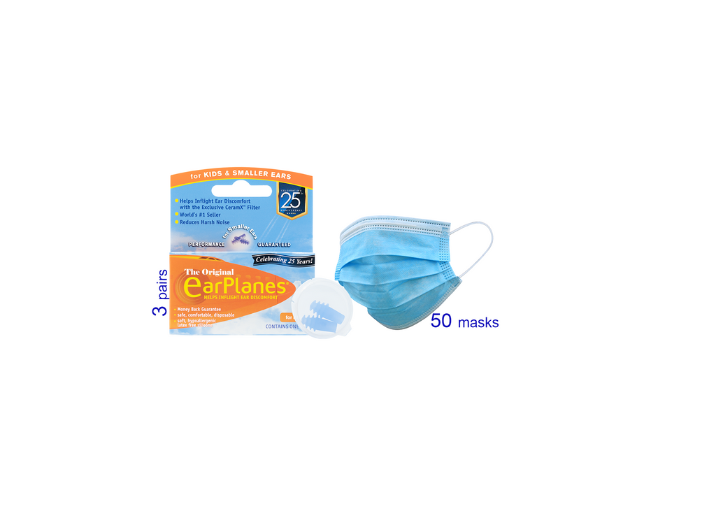 3-Ply Disposable Masks (50 pack) + Earplugs