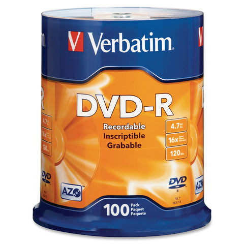 Verbatim America, LLC DVD-R (4.7 GB) (16x) Branded (Pk=100/Spindle)