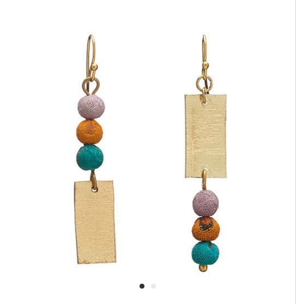 Asymmetrical Kantha Earrings