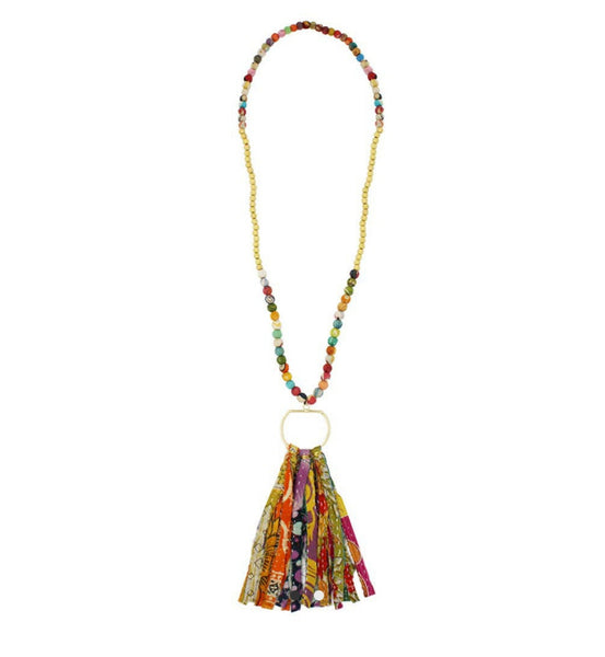 Kantha & Gold Fringe Necklace