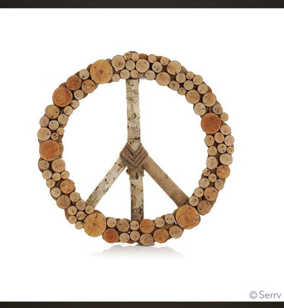 Stacked Wood Peace Wreath
