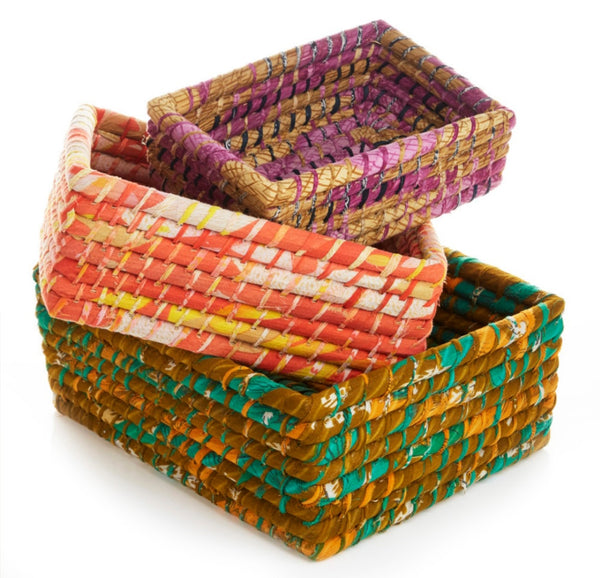 Sari Wrapped Organizing Baskets