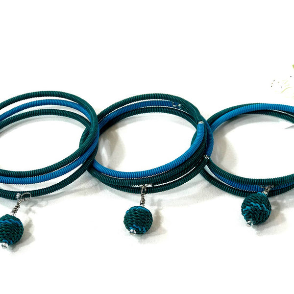 Spiral Color Block Bracelet with Woven Bead