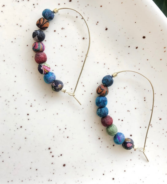 Sari Silk Curved Hoop Earrings
