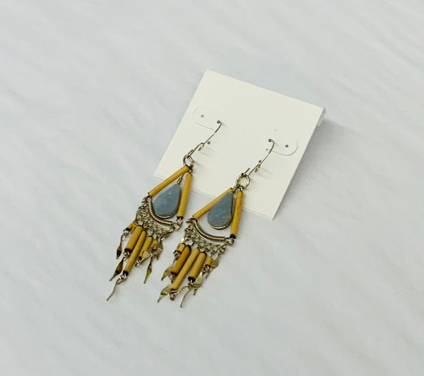 Bamboo and Stone Earrings
