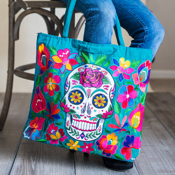 Embroidered Skeleton Tote