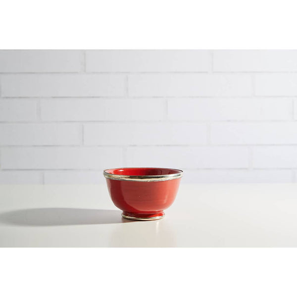 Moroccan Glazed Bowl with Berbe Silver Trim