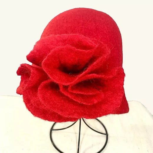 Red Felted Wool Hat