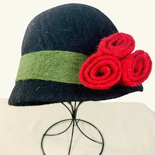 Black & Green Felted Wool Hat