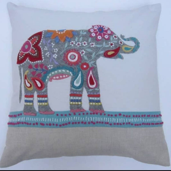 Elephant w/ Flowers Pillow