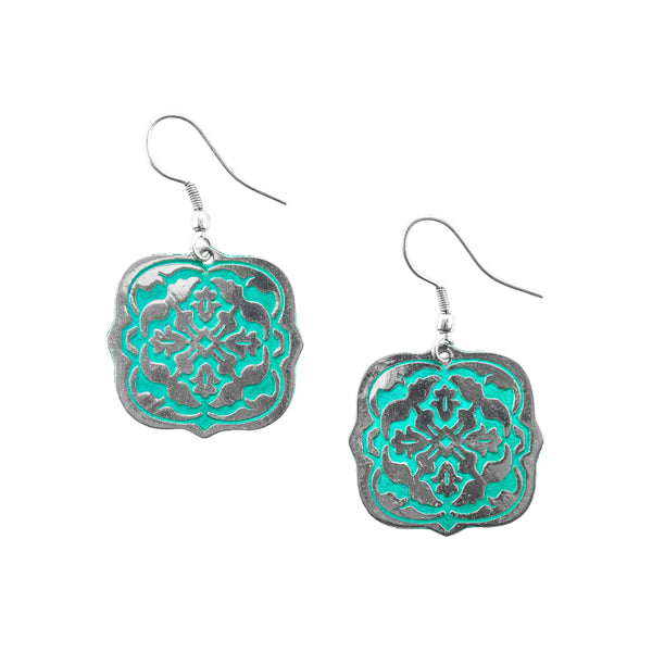 Arabesque Teal Earrings