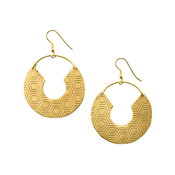 Jaladhi Earrings - Gold Honeycomb