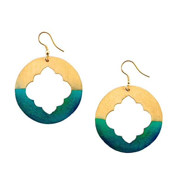 Ashram Window Earrings in Gold and Aqua