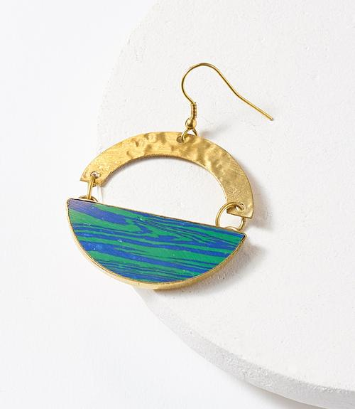 Blue-Green Swirl Earrings