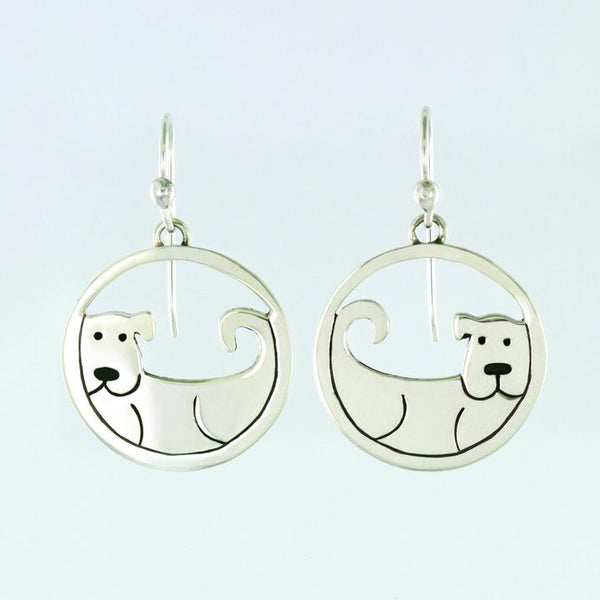 Encircled Dog Sterling Earwire Earrings