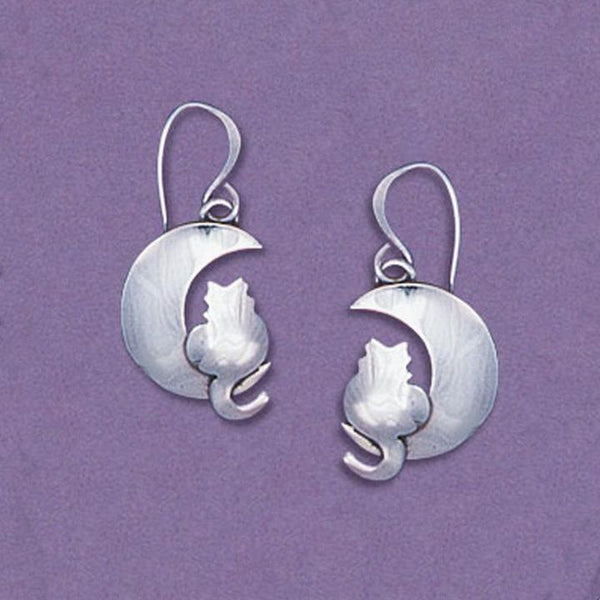 Moonlight Kitty Sterling Earwire Earrings