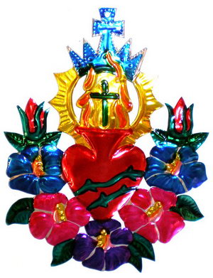 Sacred Tin Heart with Roses