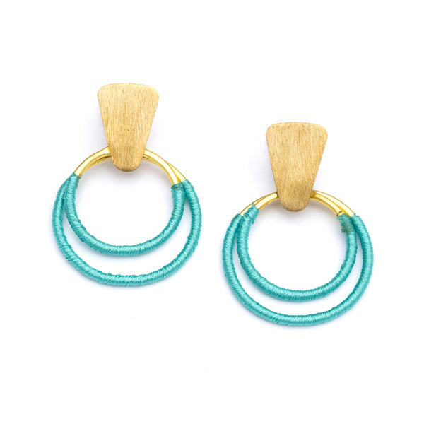 Kaia Teal Hoops Earrings