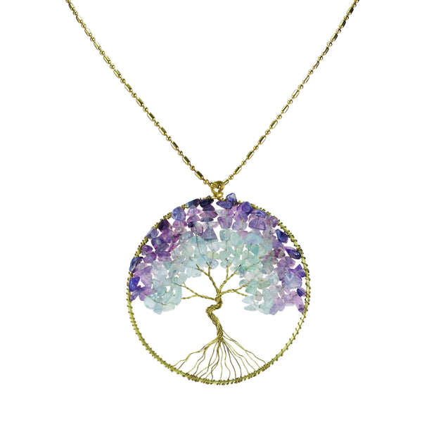 Mystical Tree of Life Gemstone and Brass Necklace