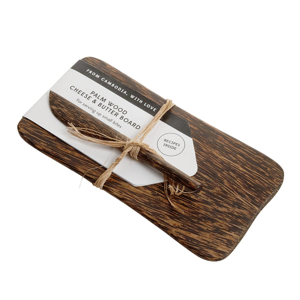 Palm Wood Cheese and Butter Board with Spreader