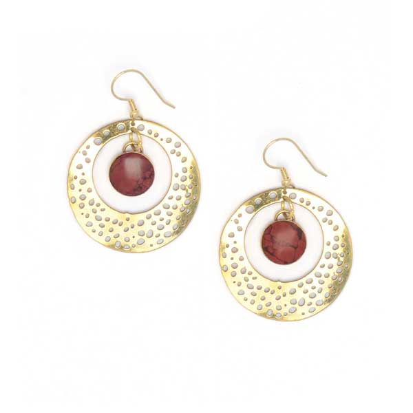 Stone Medallion Earring