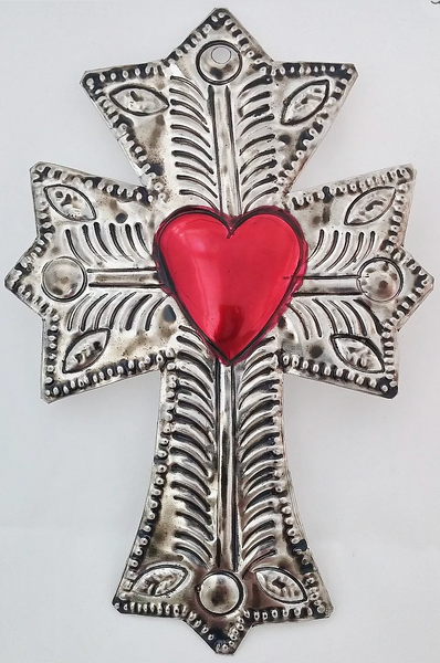 Tin Cross with Heart