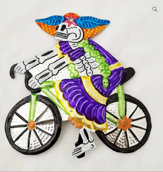 Tin Sugar Skull Skeleton on Bicycle
