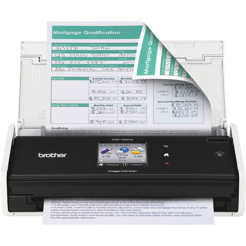 "Brother ADS-1500W Compact Color Scanner (18 ppm) (8.5"" x 34"") (600 x 600 dpi) (Duplex) (USB) (Wireless) (Touchscreen) (20 Sheet DADF)"
