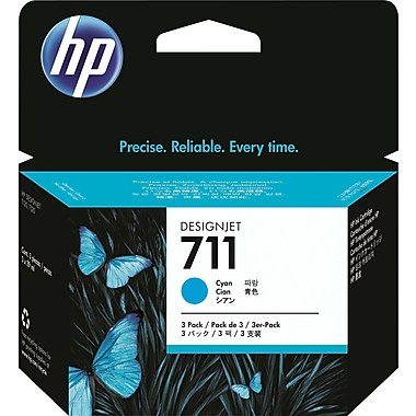 HP 711 (CZ134A) 3-Pack Cyan Original Ink Cartridges (3 x 29 ml)