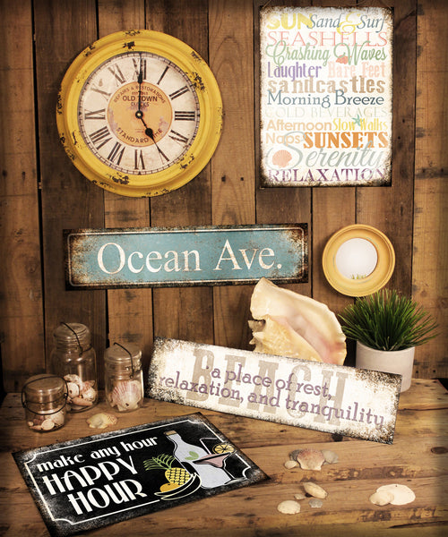 "Beach // Rest and Relax // 1 Aluminum Sign // Indoor or Outdoor // 5.5"" x 22"""