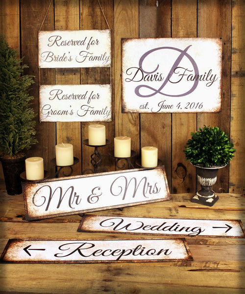 "Wedding Directional // 1 Aluminum Sign // Indoor or Outdoor  // 5.5"" x 22"""
