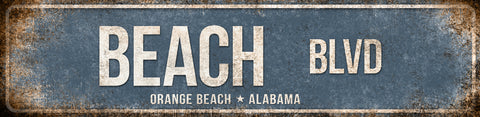 "Beach Blvd // Orange Beach Alabama // 1 Aluminum Sign // Indoor or Outdoor  // 5.5"" x 22"""