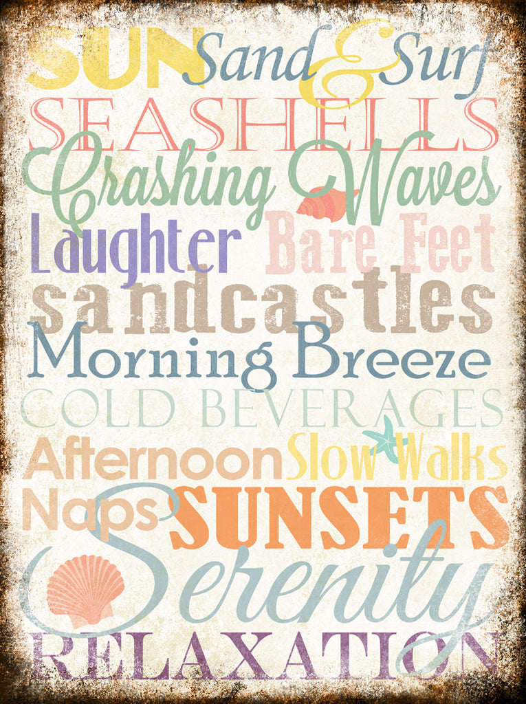 "Beach Word Art // 1 Aluminum Sign // Indoor or Outdoor // 12"" x 16"""