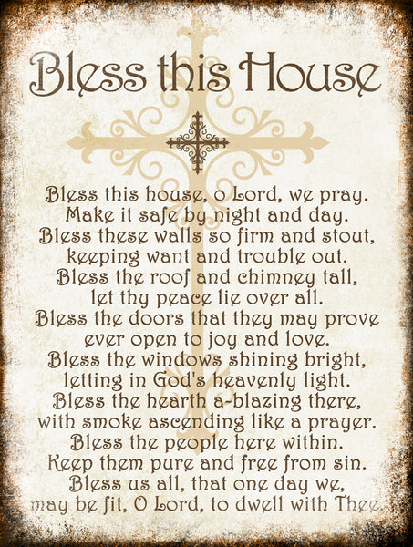 "Bless This House // Cross // 1 Aluminum Sign // Indoor or Outdoor // 12"" x 16"""