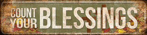 "Count Your Blessings // 1 Aluminum Sign // Indoor or Outdoor // 5.5"" x 22"""