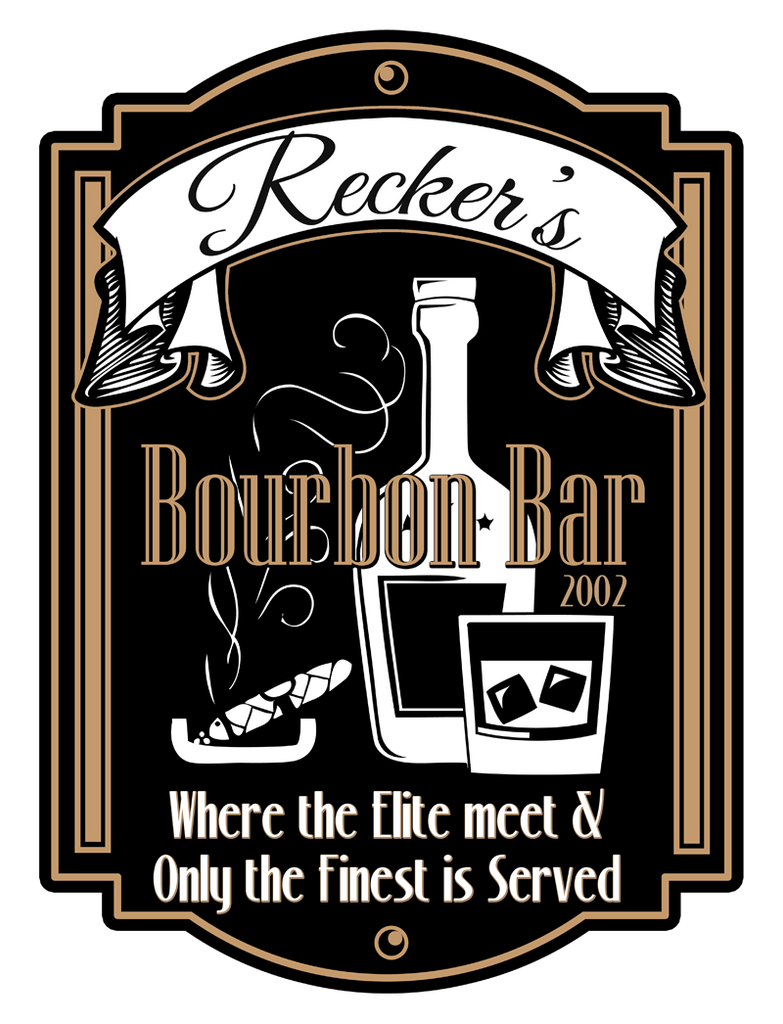 "Custom Bourbon Bar // 12"" x 16"" // Die Cut Wall Decal"