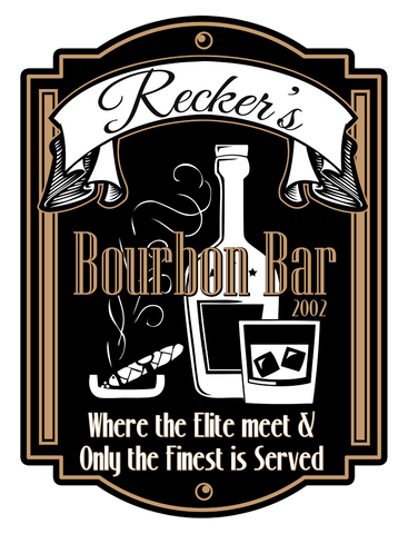 "Custom Bourbon Bar // 18"" x 24"" // Die Cut Wall Decal"