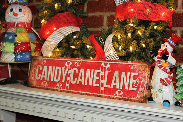 "Candy Cane Lane // 1 Aluminum Sign // Indoor or Outdoor // 5.5"" x 22"""