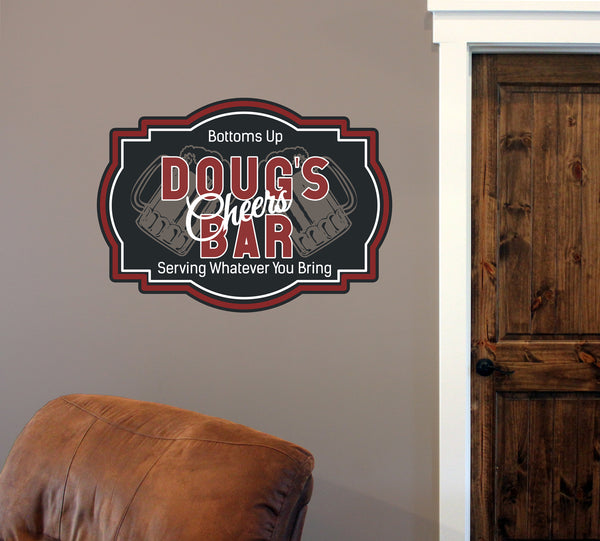 "Custom Cheers Bar // 18"" x 24"" // Die Cut Wall Decal"