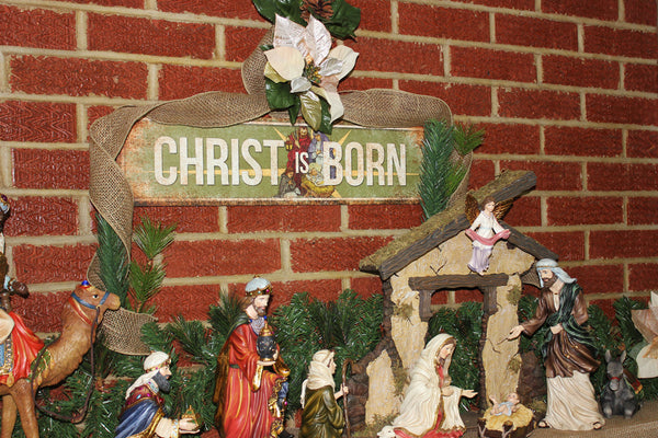 "Christ is Born // 1 Aluminum Sign // Indoor or Outdoor //  5.5"" x 22"""