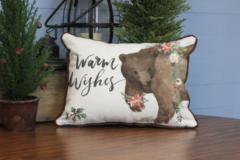 "Warm Wishes Bear // 12""x16"" // Christmas Accent Pillow with Insert"