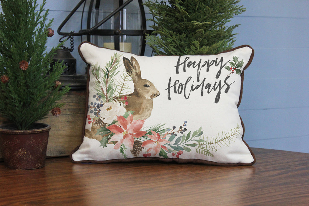 "Happy Holidays Hare // 12""x16"" // Christmas Accent Pillow with Insert"