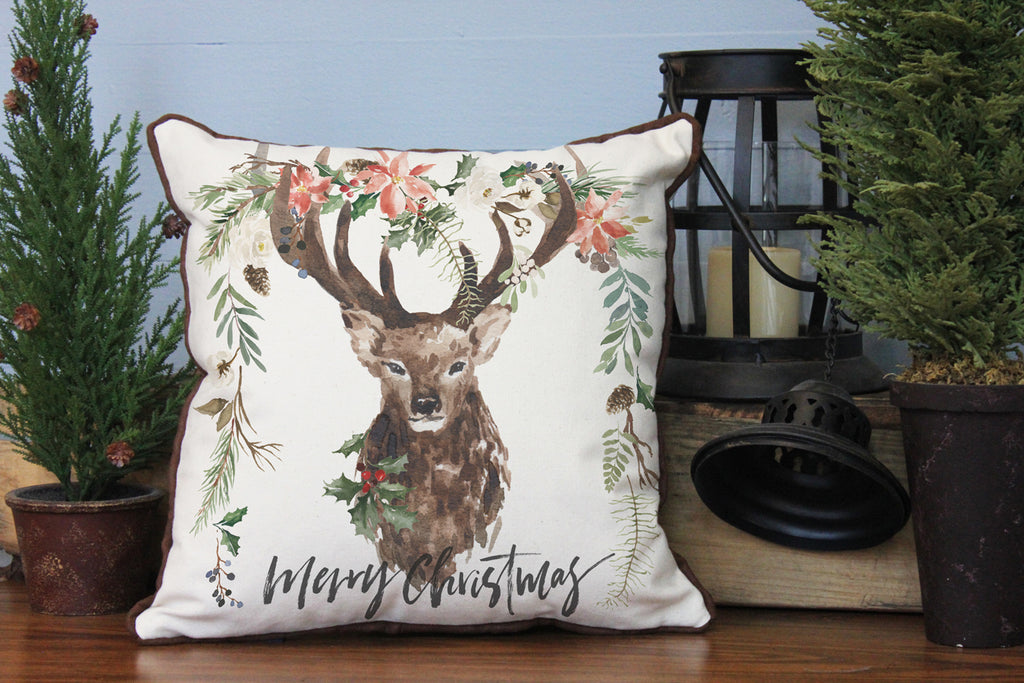 "Merry Christmas Stag // 16""x16"" // Christmas Accent Pillow with Insert"