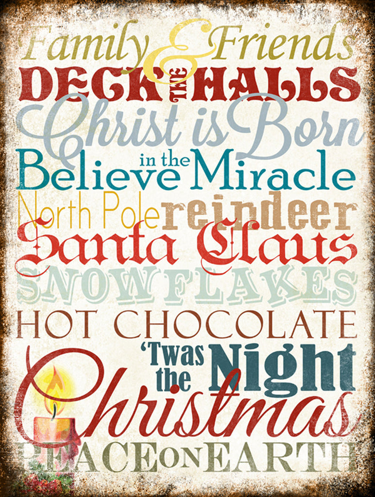 "Christmas Word Art // Santa // 1 Aluminum Sign // Indoor or Outdoor // 12"" x 16"""