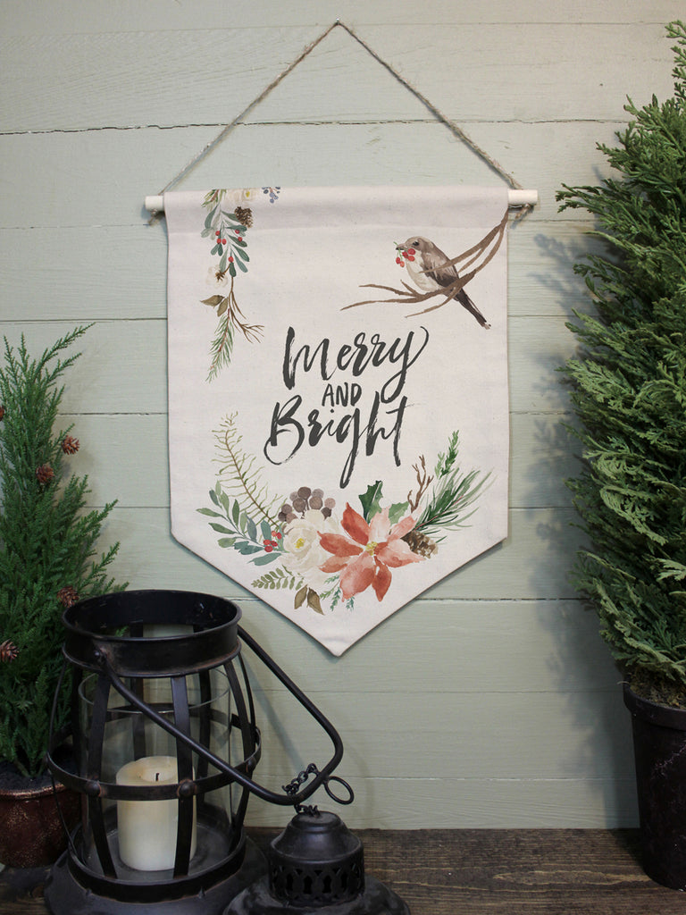 "Merry and Bright Bird // 12""x16"" // Canvas Banner Flag // Christmas Decor"