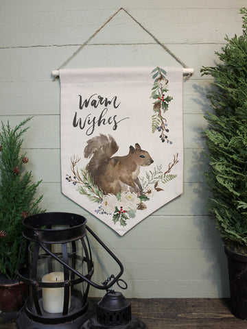 "Warm Wishes Squirrel // 12""x16"" // Canvas Banner Flag // Christmas Decor"