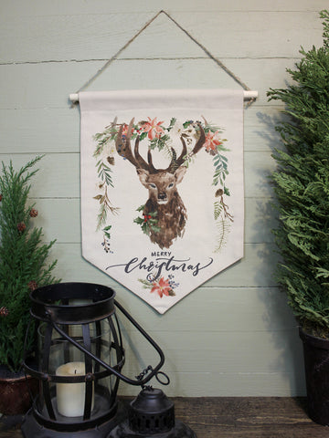 "Merry Christmas Stag // 12""x16"" // Canvas Banner Flag // Christmas Decor"