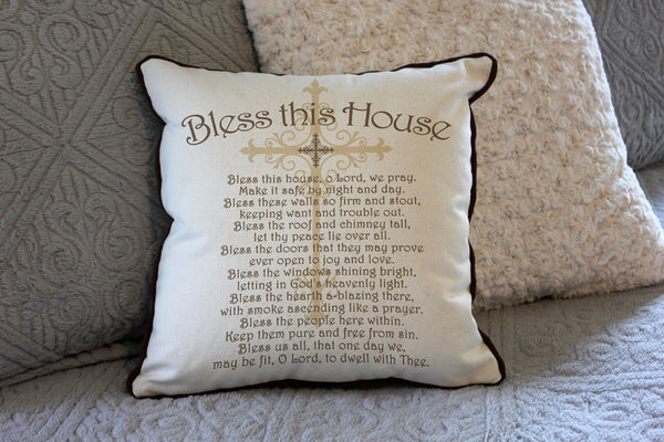 "Bless this House // 16""x16"" // Accent Pillow with Insert"