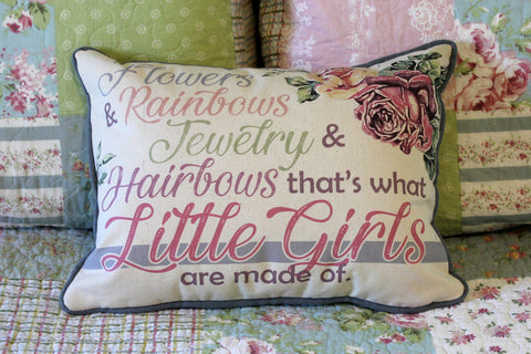 "Flowers, Rainbows, Jewelry, Hair bows, Girls // 12""x16"" // Accent Pillow with Insert"